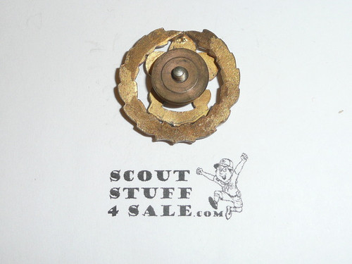 Assistant Scout Executive Collar Brass, Squatty Crown, Threaded Post with backing, RARE Variety