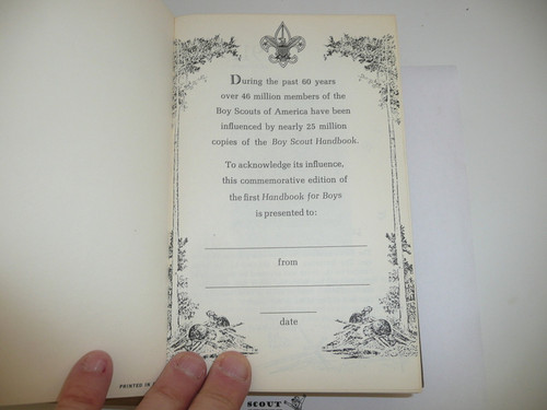 1911 Boy Scout Handbook REPRINT, 1970 printing, Hardbound, MINT condition