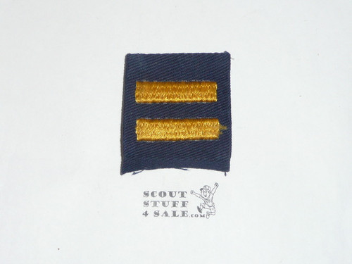 Two Bar Cub Scout Position Patch, 1940's no bdr on twill with material folded under, used