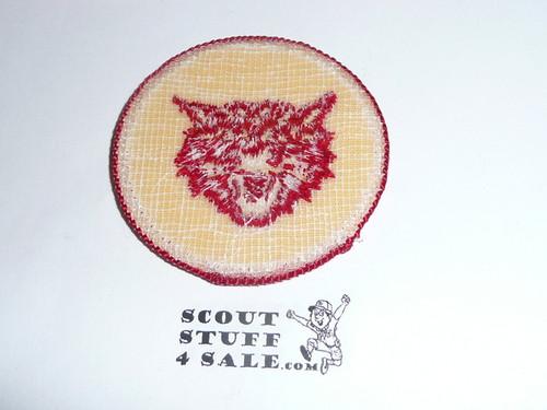 Bobcat Patrol Medallion, Yellow Twill with plastic back, 1972-1989