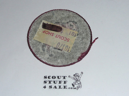 Bison Patrol Medallion, Grey Twill with paper back, 1972-1989