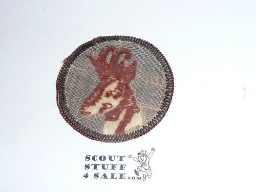 Antelope Patrol Medallion, Brown Twill with plastic back, 1972-1989
