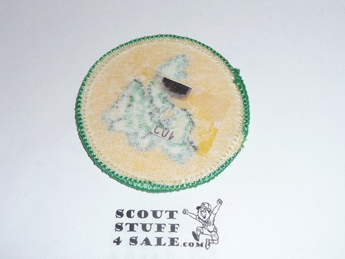 Moose Patrol Medallion, Yellow Twill with paper back, 1972-1989