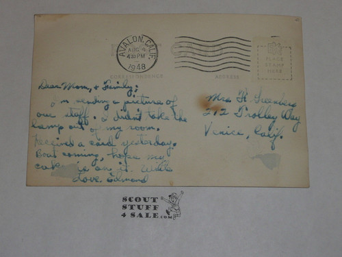 1948 Camp Emerald Bay STAFF Photo Post Card, mailed with writing