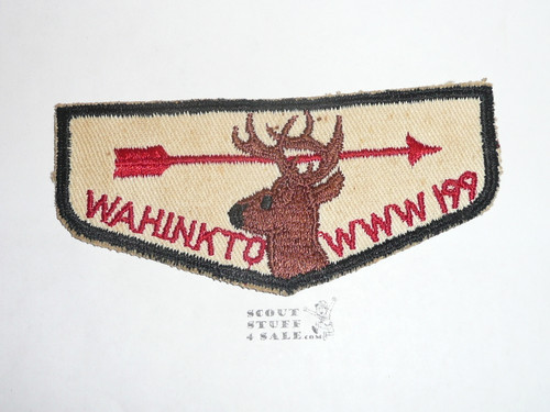 Order of the Arrow Lodge #199 Wahinkto f1 Flap Patch, unused but twill discolored & glue/paper on back