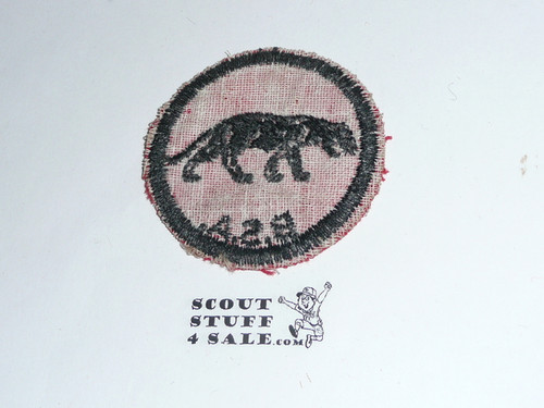 Panther Patrol Medallion, Felt w/BSA & Solid Black Ring back, 1933-1939