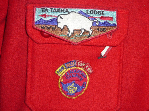 """Official Boy Scouts of America Red Wool Jacket with Patches - 30""""L x 19""""W"""