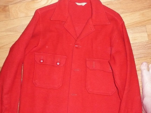 """Official Boy Scouts of America Red Wool Jacket  - Size 38 - 28""""L x 17.5""""W"""