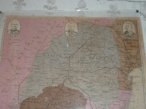 Map of Boer and Transval War Area on silk pressed between lucite sheets