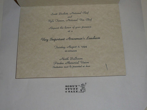 1994 National Order of the Arrow Conference Invitation to Conference Comm Lunch Invitation