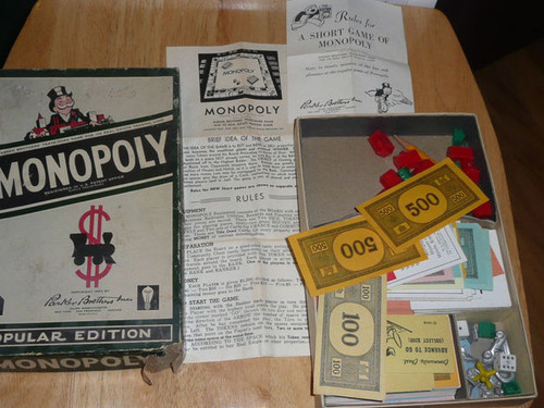 1954 Monopoly Game Parker Brothers, No Board