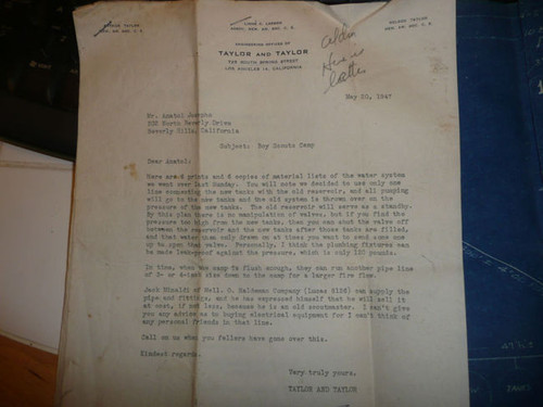 1947 Letter to Anatol Josepho from Engineer re: Scout Camp Josepho water system