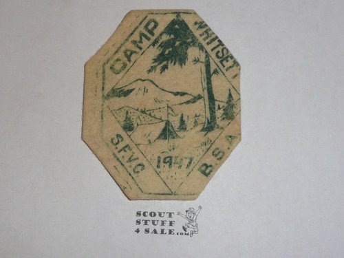 1947 Camp Whitsett Felt Patch, San Fernando Valley Council, 1st year of the camp
