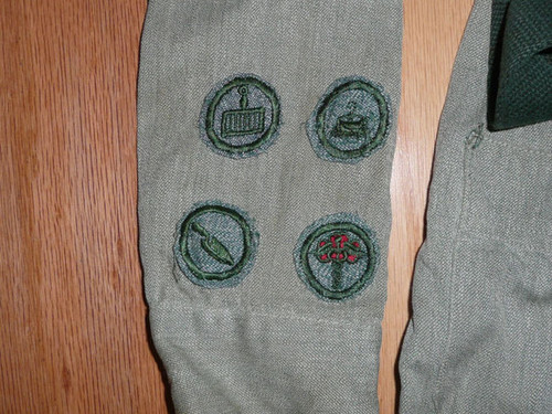 1930's Official Girl Scout Uniform Dress with Patches and Belt