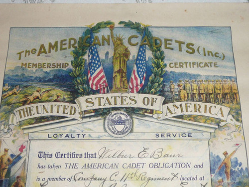 "1919 American Cadets Inc. Colorful Membership Certificate, 12"" x 17"""