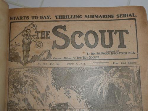 """1911-1912 Bound Volume """"The Scout"""" Magazine British Boy Scout Association #2"""