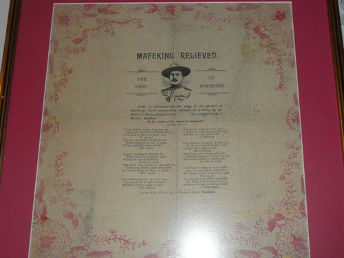 1900 Mafeking Relieved, Tribute to Baden Powell, Printed on silk/tissue, framed