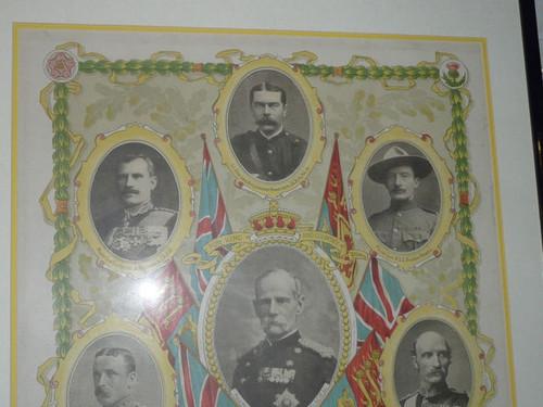1900 British Heros Boer War Color Poster, Baden Powell, Framed and Matted