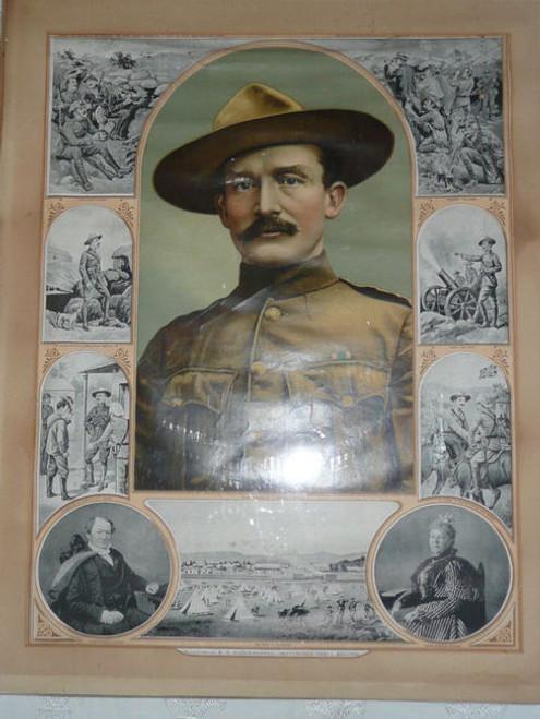 """Major General R. S. Baden Powell"" Color Print of Baden Powell 1900's"
