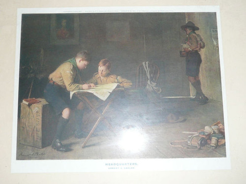 """""""Headquarters"""" British Boy Scout Print by Ernest Carlos, 1915, framed with glass. Mounted to board. 17"""" x 14"""""""