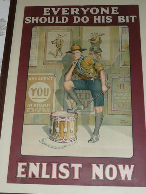 """Everyone Should Do His Bit"" WWI British Boy Scout War Recruiting Poster, 1915"