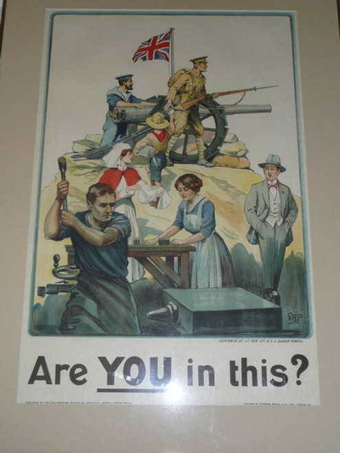 """""""Are you This?"""" WWI British Recruiting Poster BY Baden Powell, Framed"""