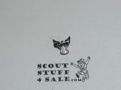 Eagle Scout Lapel Pin, 1960's STERLING Silver, small, spin lock clasp
