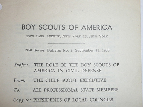 Professional Boy Scout Bulletin about the role of the BSA in Civil Defense, 9-11-1950 printing
