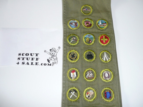 1950's Boy Scout Merit Badge Sash with 31 Crimped Merit badges