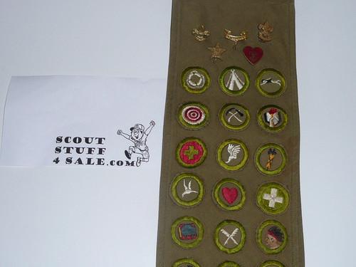 1940's Boy Scout Merit Badge Sash with 41 crimped merit badges (a few cut down squares), 5 rank pins