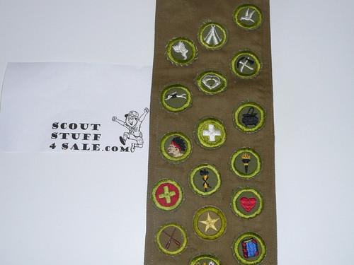 1940's-1950's Boy Scout Merit Badge Sash with 42 tan/khaki crimped merit badges