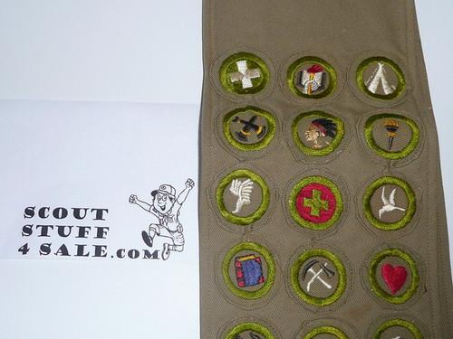 1940's Boy Scout Merit Badge Sash with 22 wide crimped merit badges