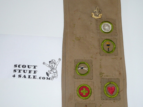 1930's Boy Scout Merit Badge Sash with 8 square merit badges and early Star Patch