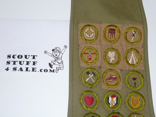 1940's Boy Scout Merit Badge Sash with 7 square and 15 tan crimped merit badges