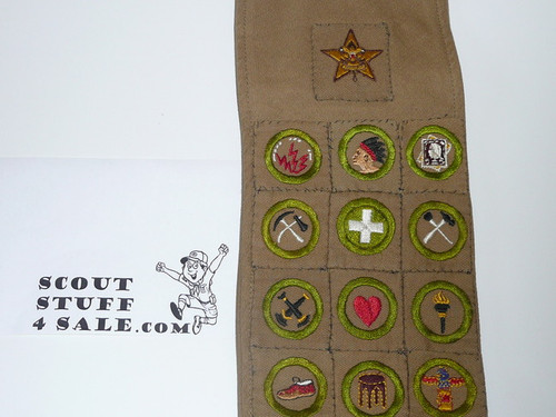 1930's Boy Scout Merit Badge Sash with 24 square merit badges and early Star Patch, includes seamanship, signaling,stamp collecting and radio