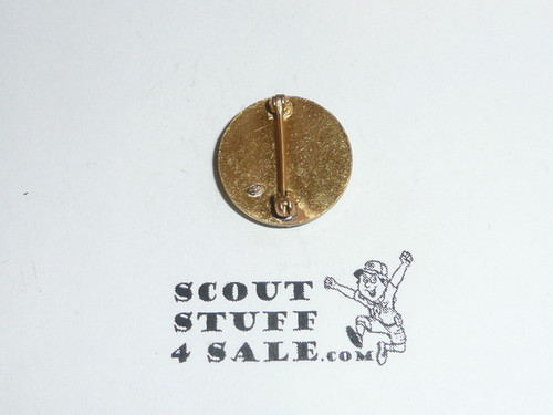 "Junior Assistant Scoutmaster Lapel Pin, Vertical Spin Lock Back, 1940's, 5/8"" dia, Scarce, MINT"