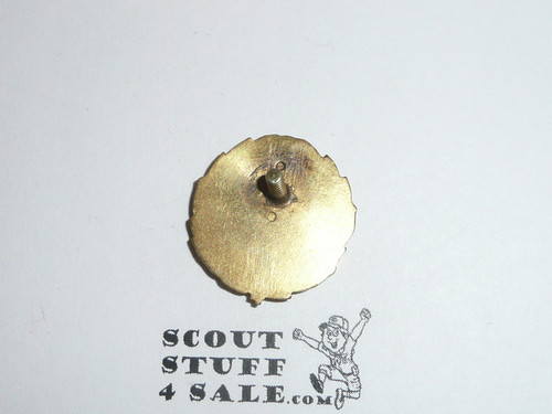 Regional Scout Executive Collar Brass, Squatty Stylized Crown, Threaded Post with backing, 1920's, RARE Variety