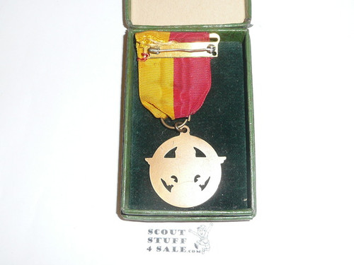 Explorer Bronze Award Medal, In original Box, 1940's, Only a few known examples exist as this was only issued in medal form for less than a year
