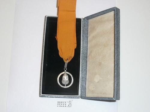 1955 Silver Acorn Award, in Presentation Box, Silver, Presented to E.F. Hatch