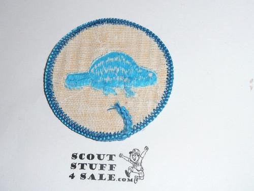 Beaver Patrol Medallion, Yellow Twill with gauze back, 1972-1989