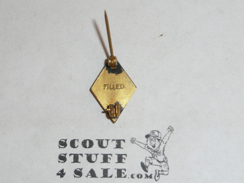 "5 Year Veteran Pin, 1930's Issue, Gold Filled, Marked ""Filled"""