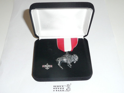 Silver Buffalo Award With Lapel Pin, In Presentation Box, Sterling Silver