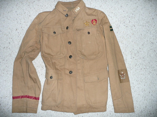 Teens Eisner Jacket with collar brass, 1st Class Patrol Leader, merit badges, early Patrol emblem and Type 1 Life and Star Patches