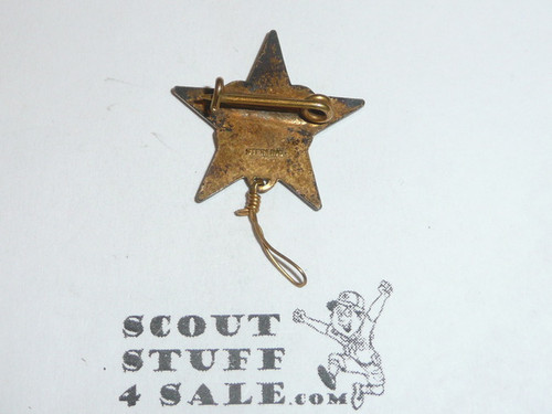 Star Scout Rank Pin, bent Wire Clasp, 21mm wide, Wire Knot, Marked STERLING