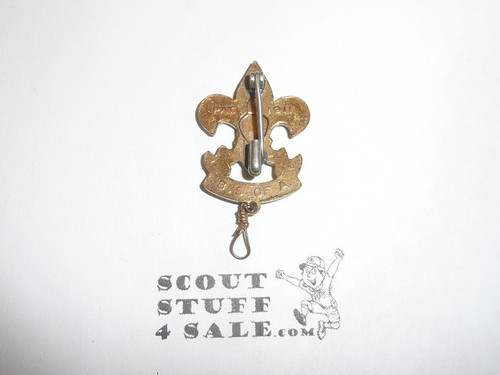First Class Scout Rank Pin (Could be used as Generic Scouting Collar Pin), Safety Pin Clasp, 33mm tall (incl knot), PAT 1911 & BS of A back markings, wire knot