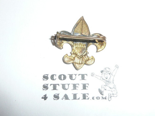 Tenderfoot Scout Rank Pin (Could be used as Generic Scouting Collar Pin), crude wire Clasp, 20mm Wide, Stamped tin for WWII War Production