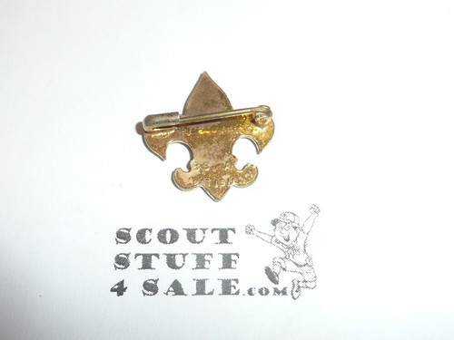 Tenderfoot Scout Rank Pin (Could be used as Generic Scouting Collar Pin), Safety Pin Clasp, 20mm Wide, Be Prepared (not arched) & BS of A & Pat. 1911 back markings, Flat Back