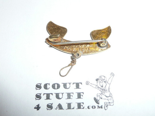 2nd Class Scout Rank Pin, Safety Pin Lock Clasp, 25mm Wide, BS of A & Pat. 1911 back markings, wire knot