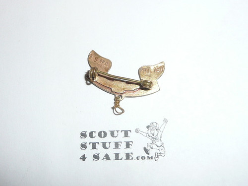 2nd Class Scout Rank Pin, Spin Lock Clasp, 25mm Wide, BS of A & Pat. 1911 back markings, wire knot