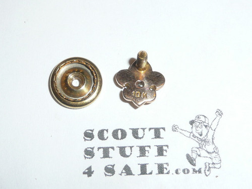 Boy Scout Lapel Pin with fully faceted large Diamond, 10k gold, spin back, high quality